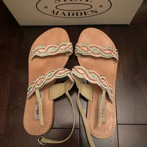 Steve Madden Beaded Green Multi Sandals